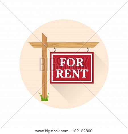 For rent Icon on the white background. For web and mobile, modern minimalist flat design. Vector illustration.
