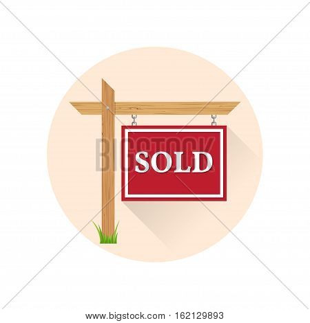 Sold Icon on the white background. For web and mobile, modern minimalist flat design. Vector illustration.