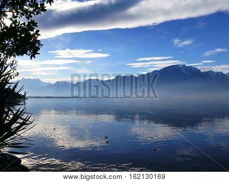 Alps on Lake Geneva at Montreux, Switzerland