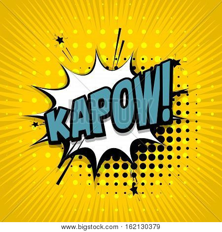 Lettering kapow. Comic text sound effects. Vector bubble icon speech phrase cartoon exclusive font label tag expression sounds illustration. Comics book balloon
