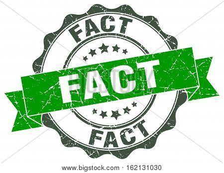 fact. stamp. sign. seal. round. retro. ribbon