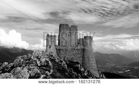 Rocca Calascio in black and white, Lady Hawk Fortress, in L'Aquila, Abruzzo, Italy