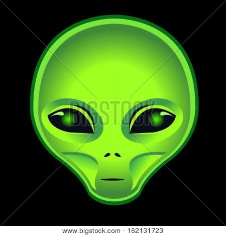 alien green head on black background