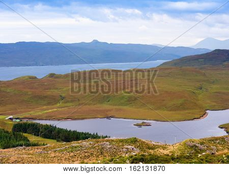 View on the landscape surrounding The Storr mountain range on the Isle of Skye, Scotland