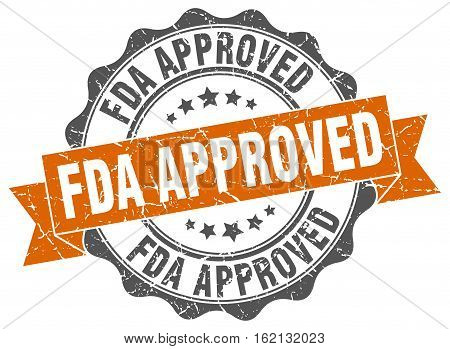 fda approved. stamp. sign. seal. round. retro. ribbon