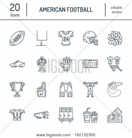 Vector line icons of american football game. Elements - ball, field, player, helmet, bullhorn. Linear signs set, football championship pictogram with editable stroke for sport event, fan store