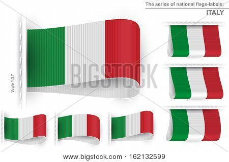 National state flag of Italy; Sewn clothing label tag; Vector icon set of Italian Republic flags Eps10