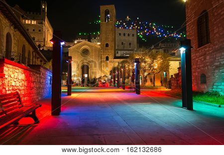 GUBBIO, ITALY - DECEMBER 18, 2016: Colorful square of Gubbio at christmas time