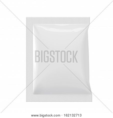 Realistic White Blank template Packaging Foil wet wipes Pouch Medicine. Food Packing Coffee Salt Sugar Pepper Spices Sweets. Template For Mock up Your Design. vector illustration.