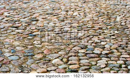 an old area cobbled with big stones