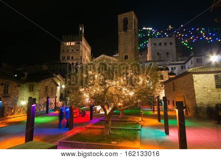 GUBBIO, ITALY - DECEMBER 18, 2016: Christmas holidays in the historic center of Gubbio. Square San Giovanni