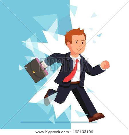 Business man breaking through glass wall. Smiling businessman overcoming obstacles. Flat style vector illustration isolated on white background.