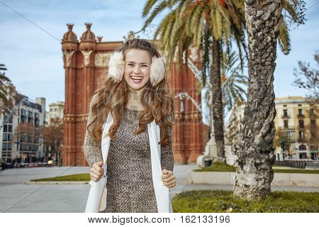 Happy Fashion-monger Near Arc De Triomf In Barcelona, Spain