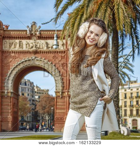 Smiling Fashion-monger Near Arc De Triomf In Barcelona, Spain