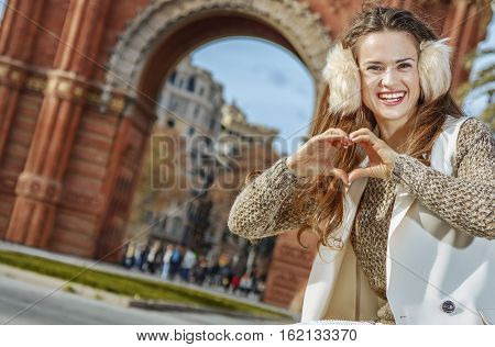 Fashion-monger Near Arc De Triomf Showing Heart Shaped Hands