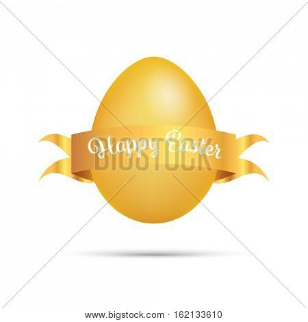 Easter Greetings with golden egg and scroll isolated