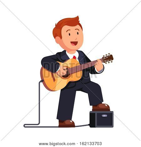 Business Man In A Suit Playing Guitar Music And Singing Song Standing One Leg