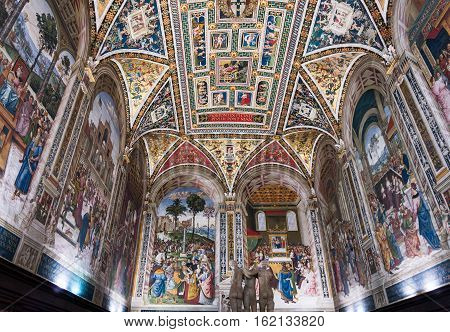 Siena Italy - Oct 3 2016. Interiors and architectural of the Palazzo Pubblico at Piazza del campo in Siena Italy