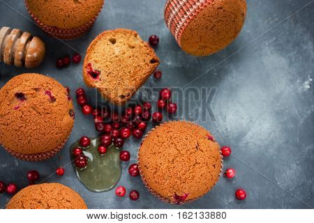 Honey muffins cakes with cranberries and spices