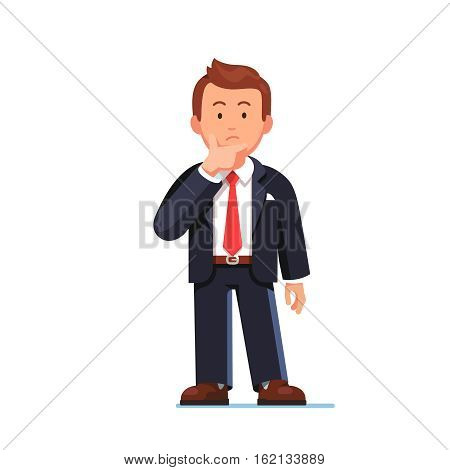 Standing business man making thinking gesture. Stroking or scratching chin thoughtfully. Front view. Flat style vector illustration isolated on white background.
