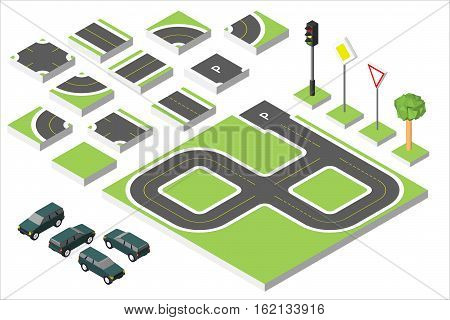 Set Isometric Road And Vector Cars, Common Road Traffic Regulatory. Vector Illustration Eps 10 Isola