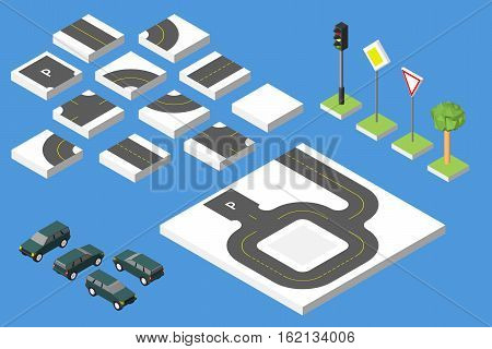 Set Isometric road and Vector Cars Common road traffic regulatory. Vector illustration eps 10 isolated.
