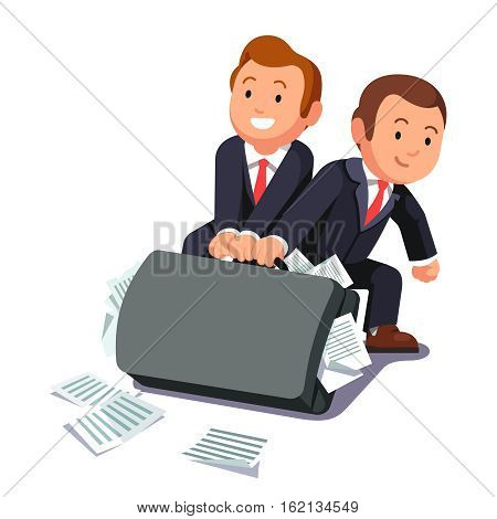 Two lawyers dragging huge heavy bloated briefcase full of papers and documents. Business man team doing paperwork. Legal burden concept. Flat style vector illustration.
