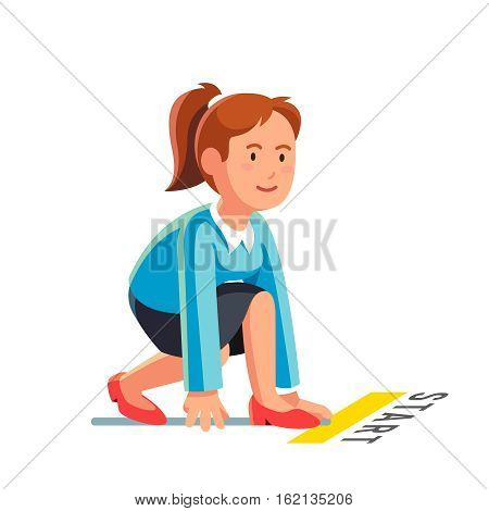 Business woman in starting position ready to sprint run. Side view. Flat style vector illustration isolated on white background.