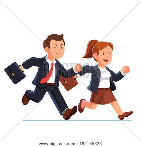 Determined business woman and man running fast together. Businesswoman and businessman team trying to be in time. Flat style vector illustration isolated on white background.