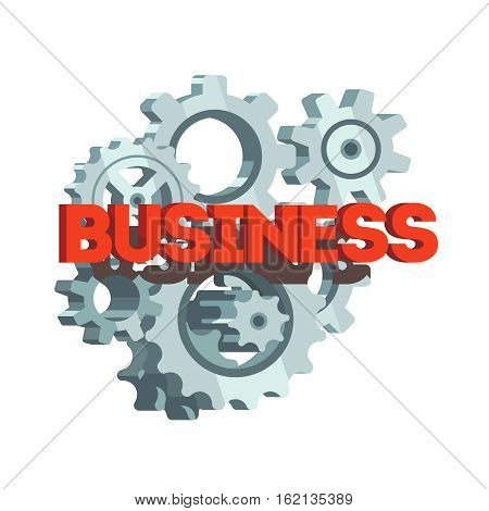 Business letters on shining metal gears and cogs engine background. Cooperation and teamwork concept. Flat style 3d vector illustration isolated on white background.