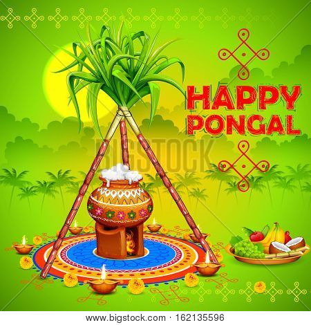 illustration of Happy Pongal greeting background