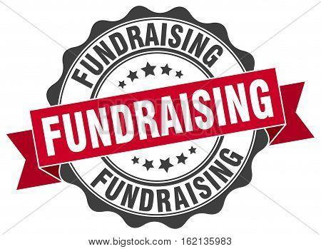 fundraising. stamp. sign. seal. round. retro. ribbon