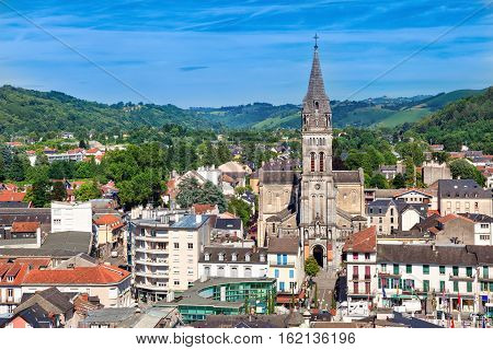 Aerial view on Church of the Sacred Heart in Lourdes Hautes-Pyrenees France