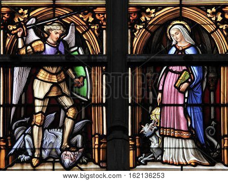 Stained Glass - Saint Michael And Saint Gudula, Patron Saints Of Brussels Cathedral