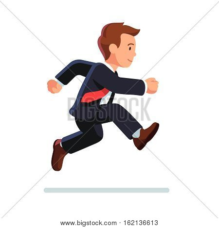 Business man running and jumping. Determined businessman. Side view. Flat style vector illustration isolated on white background.