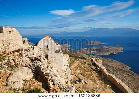 Old castle on Halki island in Dodecanese archipelago, Greece.
