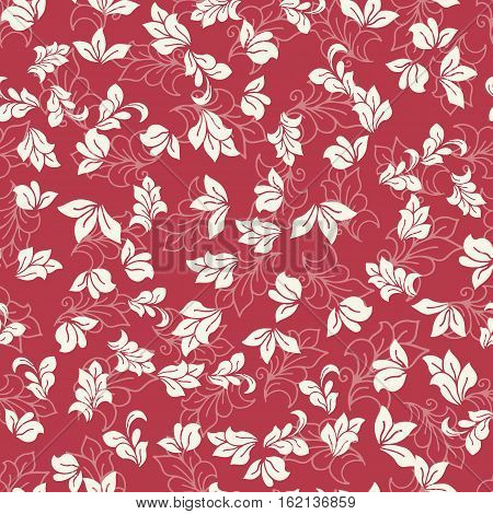 Seamless background vector pattern for cushion pillow bandanna kerchief shawl fabric print. Texture for clothes and bedclothes. Hand drawn floral pattern made of simple doodles. Cartoon flowers