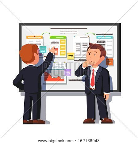 Business consultant showing and explaining project process decomposition diagram on big white board to boss. Flat style vector illustration isolated on white background.
