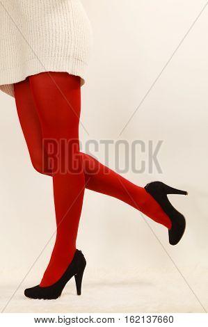Woman Legs In Red Vivid Color Pantyhose Black High Heels Shoes
