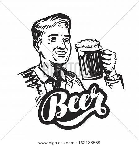 Beer or pub. Happy smiling man with mug of fresh ale. Vector illustration isolated on white background