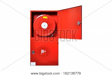 Red fire cabinet isolated on white background