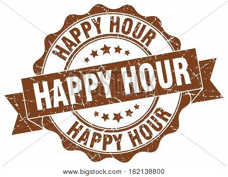 happy hour. stamp. sign. seal. round. retro. ribbon