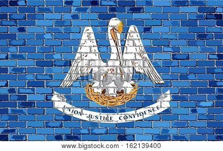 Flag of Louisiana on a brick wall with effect - Illustration,  The flag of the state of Louisiana on brick background,  Louisiana flag in brick style