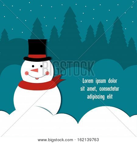 Snowman in top hat Cheerful snowman in a top hat and red scarf standing among the snowdrifts Postcard template