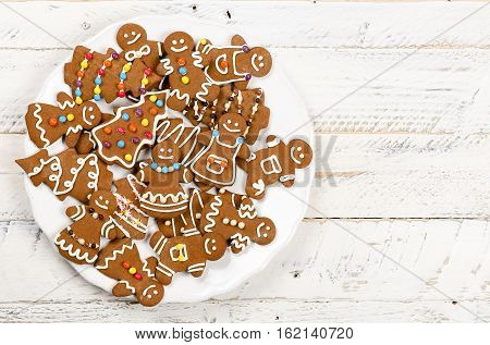 Christmas Homemade Gingerbread Cookies On White Wooden Table