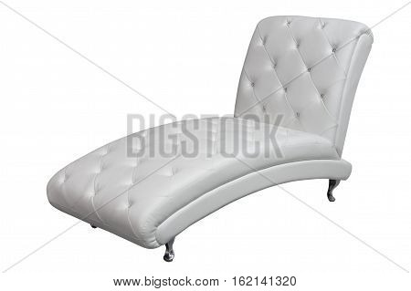 chaise lounge with white leather upholstery isolated on white background