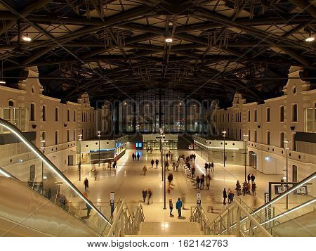 Railway Lodz Fabryczna. Lodz, Poland - December 11, 2016 Residents of Lodz, admire modern railway station Lodz Fabryczna with elements of the old architecture opened 11 December 2016 years.