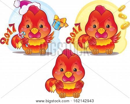 Cute Red Fire Rooster for the Chinese New Year. The red fire rooster is a symbol of the approaching new year. Symbol of Chinese horoscope.