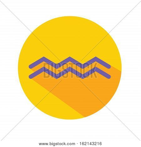 Aquarius. Classic Astrological Zodiac Sign. Vector icon in Flat Style with Long Shadow. Design element for applications web and other business