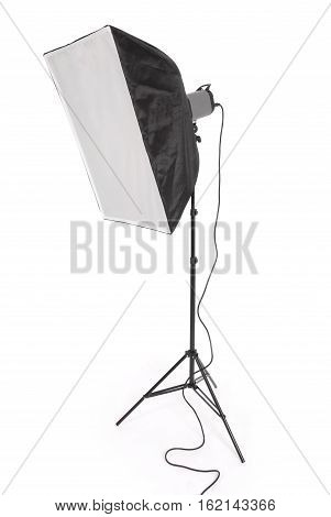 Studio lighting and equipment soft-box isolated on the white background with soft shadow
